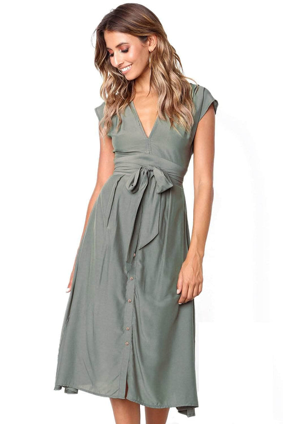 Chic V Neckline Buttons Design Green Midi Dress