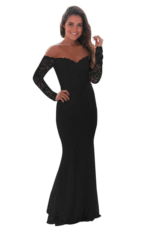 Black Crochet Off Shoulder Maxi Evening Party Dress