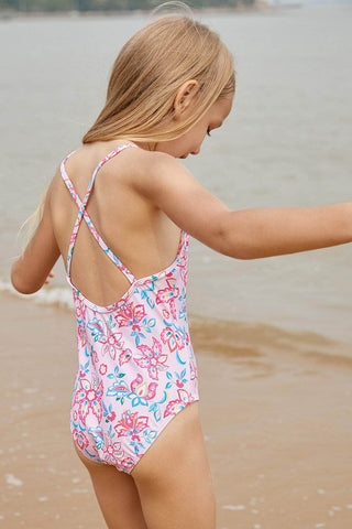 Blue Pink Multi-layer Ruffles Toddler Girls Monokini