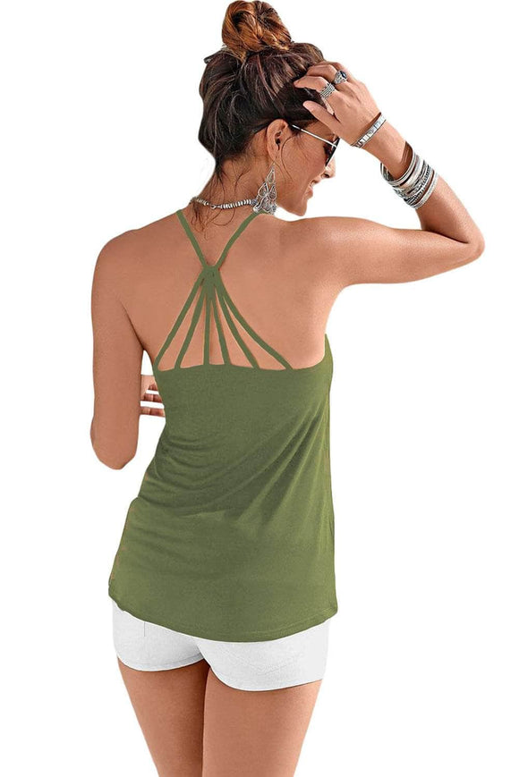 Army Green Strappy Back Detail Summer Top