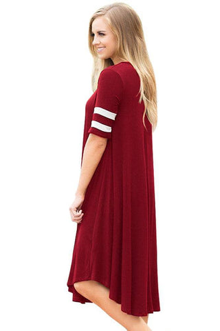 Striped Half Sleeves O Neck Flowy Jersey Dress in Red