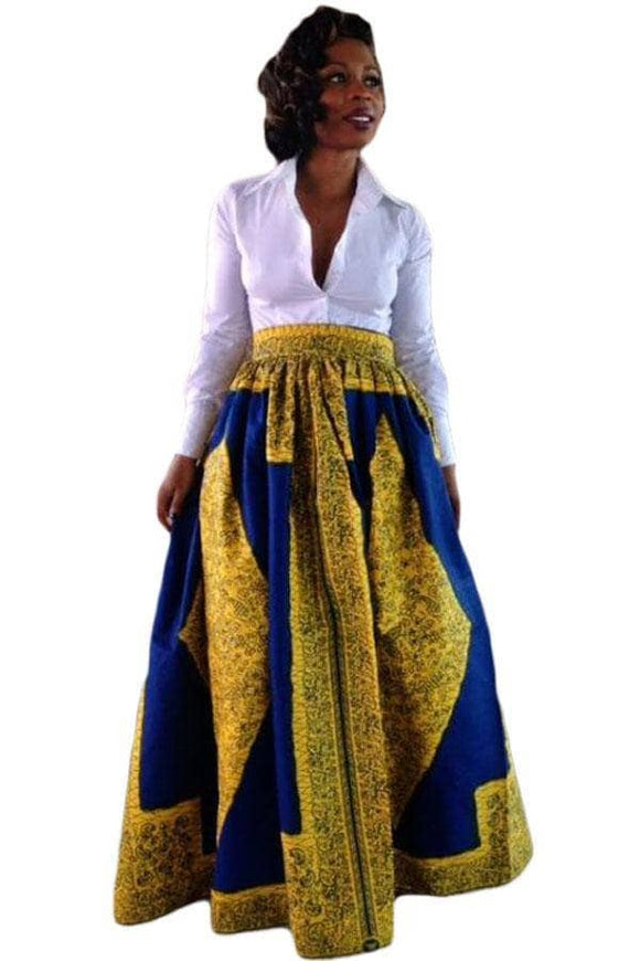 Yellow Blue African Print Maxi Skirt