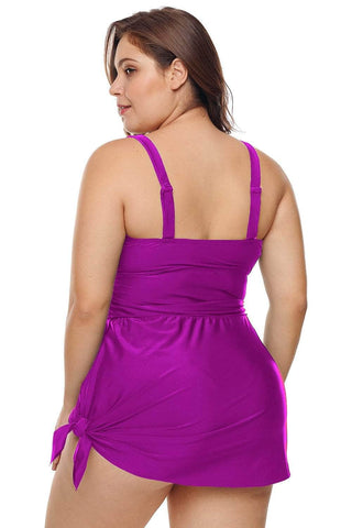 Purple Plus Shoulder Straps Skater Swimdress Swimwear