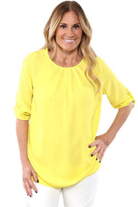 Yellow Ruched Detail Pin up Sleeve Front Blouse