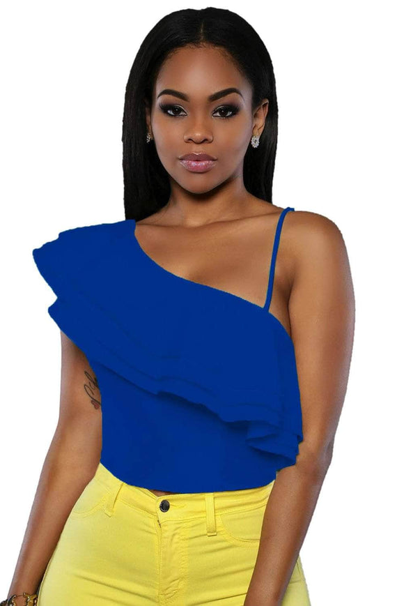 Blue Ruffle Luxe Crop Top