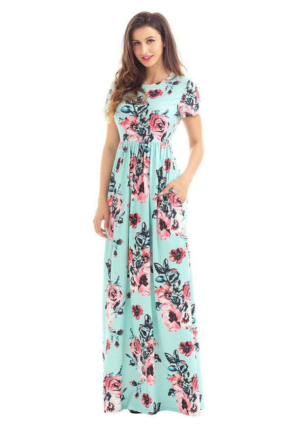 Pocket Design Short Sleeve Mint Floral Maxi Dress
