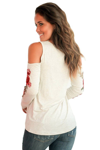 Rose Embroidered Long Sleeve White Cold Shoulder Top