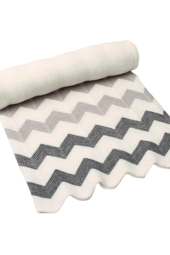 Grey White Wave Knitted Toddler Blanket