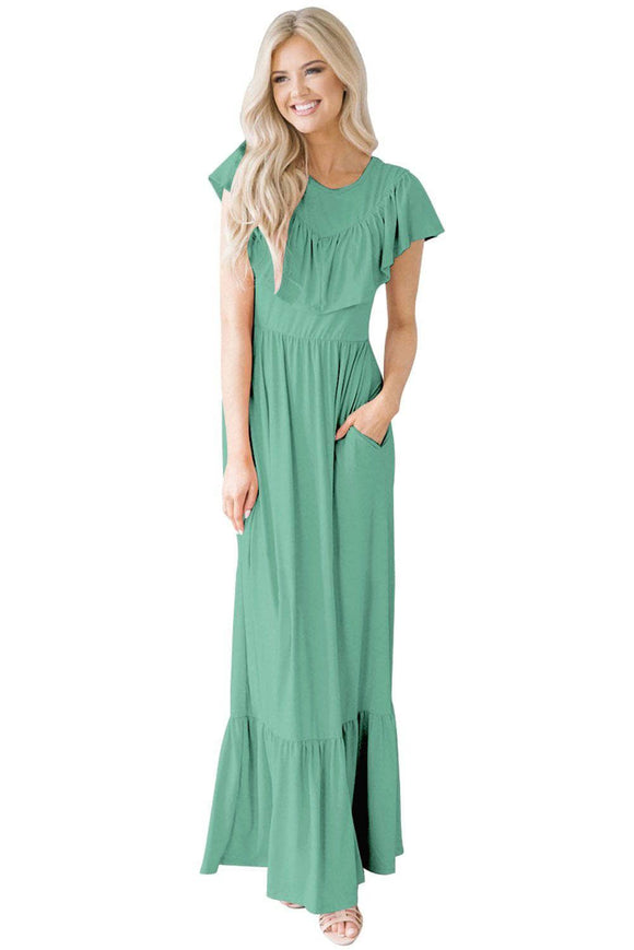 Sage Green Ruffle Detail Soft Jersey Maxi Dress