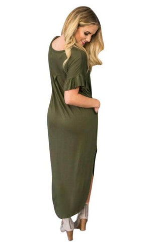 Olive Beachy Keen Ruffle Sleeve T-shirt Maxi Dress