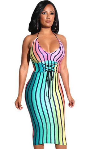 Rainbow Striped Sleek Bodycon Dress