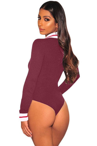 Claret White Red Striped Ribbed Knit Mock Neck Zipper Bodysuit