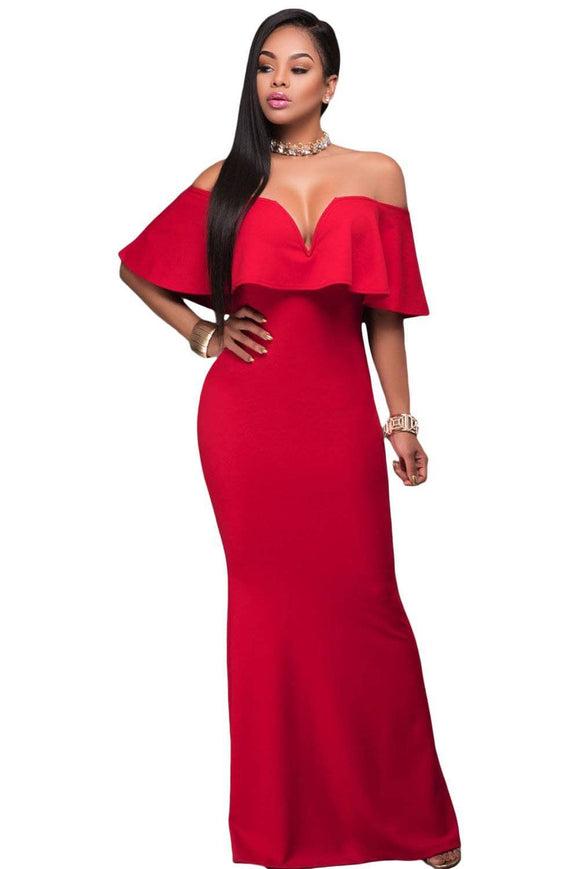 Red Ruffle Off Shoulder Maxi Party Dress