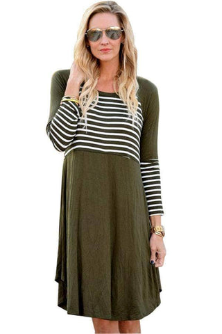 Olive Chic Blocked Stripe Jersey Dress