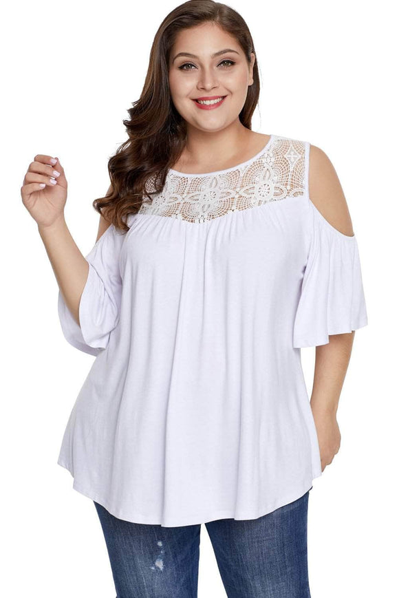 White Plus Size Crochet Yoke Cold Shoulder Top