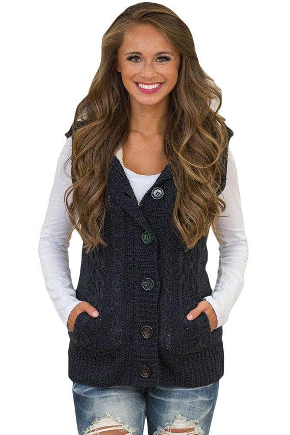 Black Cable Knit Hooded Sweater Vest