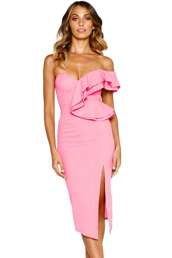 Dusty Pink Asymmetric Ruffled One Shoulder Midi Dress