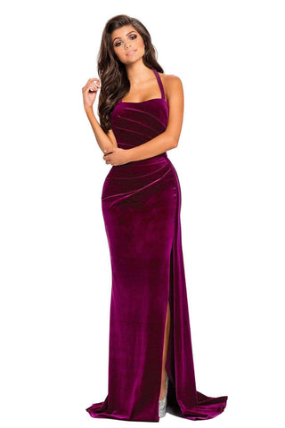 Rosy Thigh High Split Velvet Evening Gown