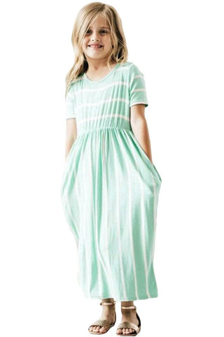 Light Mint Striped Short Sleeve Girl Maxi Dress
