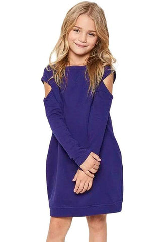 Indigo Cold Shoulder Girl's Sweatshirt Dress