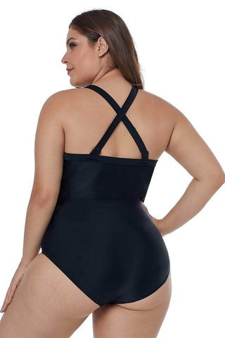 Solid Black Crisscross Plunge V Neck Plus Maillot Swimwear