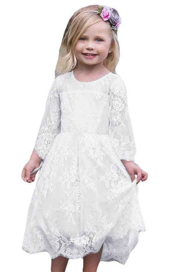 White Flower Girls Lace Dress