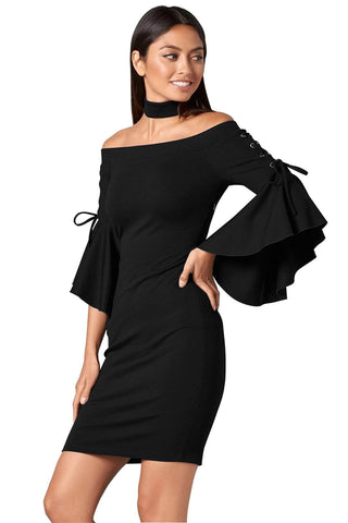 Grommet Lacing Sleeved Black Chocker Dress