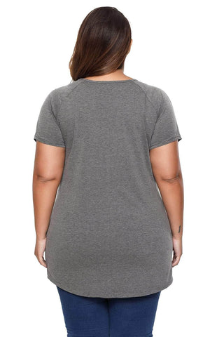 Dark Grey Slogan Print Plus Size T-Shirt with Ripped Shoulders