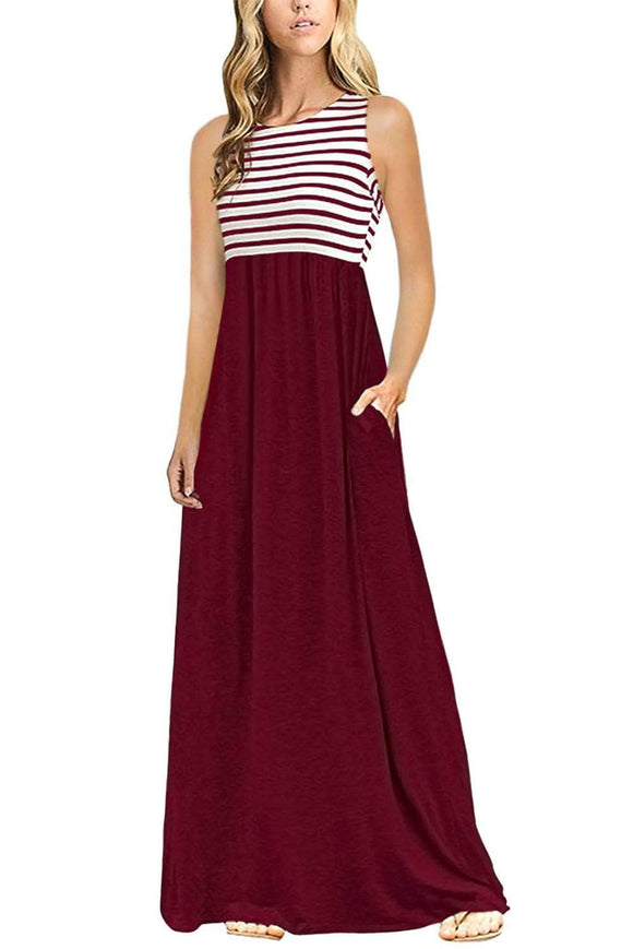Burgundy White Striped High Waist Tank Maxi Dress
