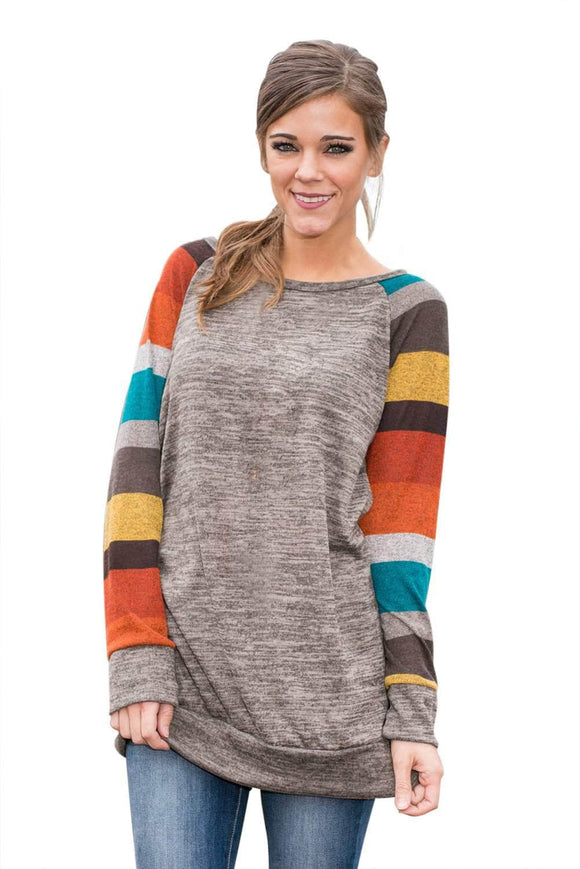 Multicolor Long Sleeve Heathered Grey Sweatshirt