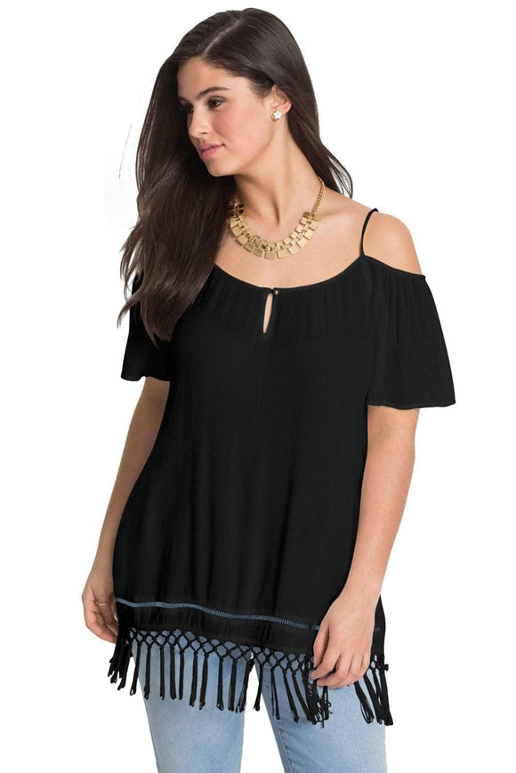 Black Cold Shoulder Plus Size Blouse Top