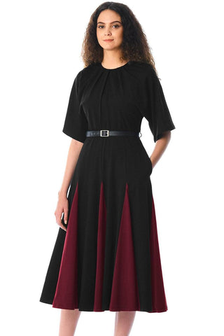 Black Burgundy Godet Colorblock A-line Midi Dress by Victory Roze
