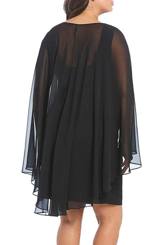 Black Plus Size Sleeveless Surplice Sheath Capelet Dress