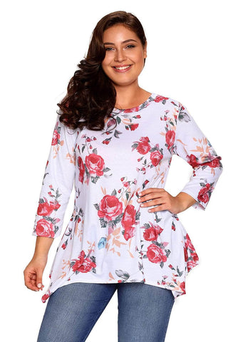 White Asymmetric Cut Floral Plus Size Top by Victory Roze