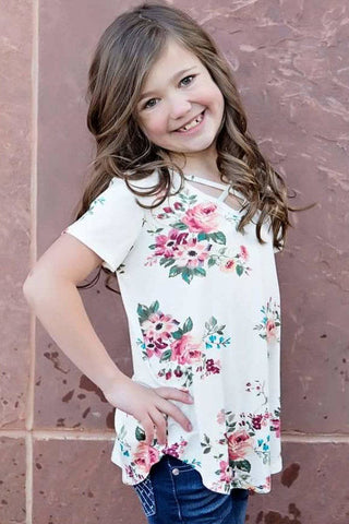 White Crisscross V Neck Little Girl Floral Top