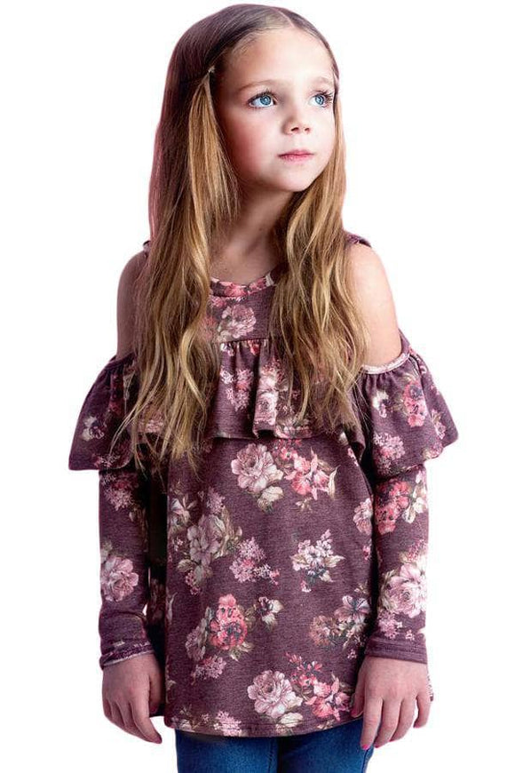 Pink Floral Cold Shoulder Ruffles Girl Top