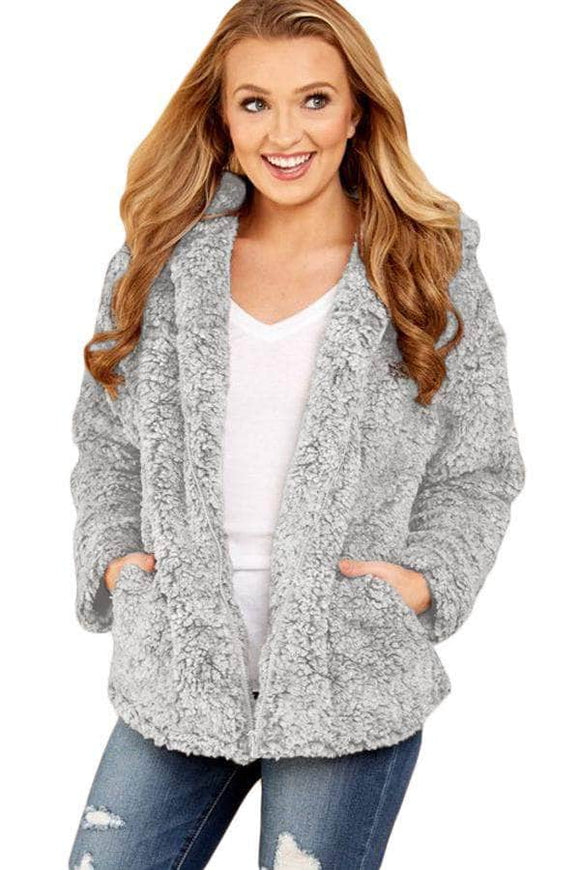 Gray Zip Down Furry Hooded Jacket