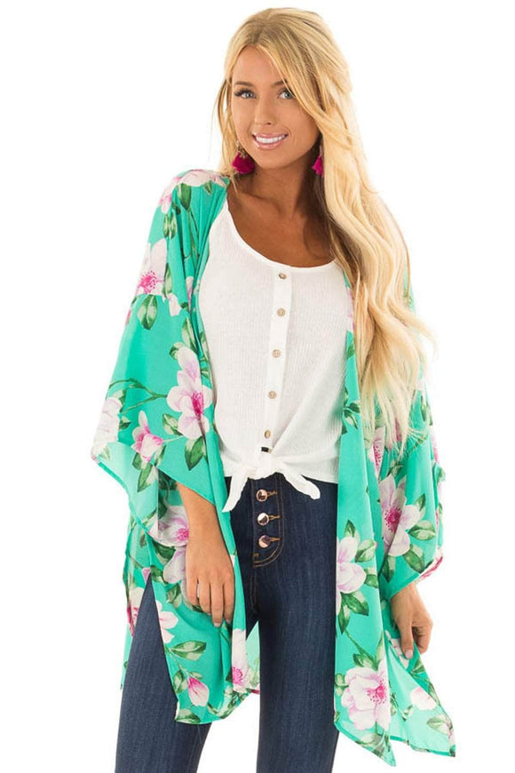 Lightweight Bell Sleeve Mint Floral Cardigan