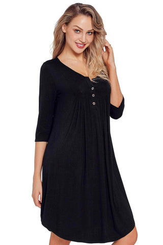 Black Quarter Sleeve Casual Tunic Dress by Victory Roze