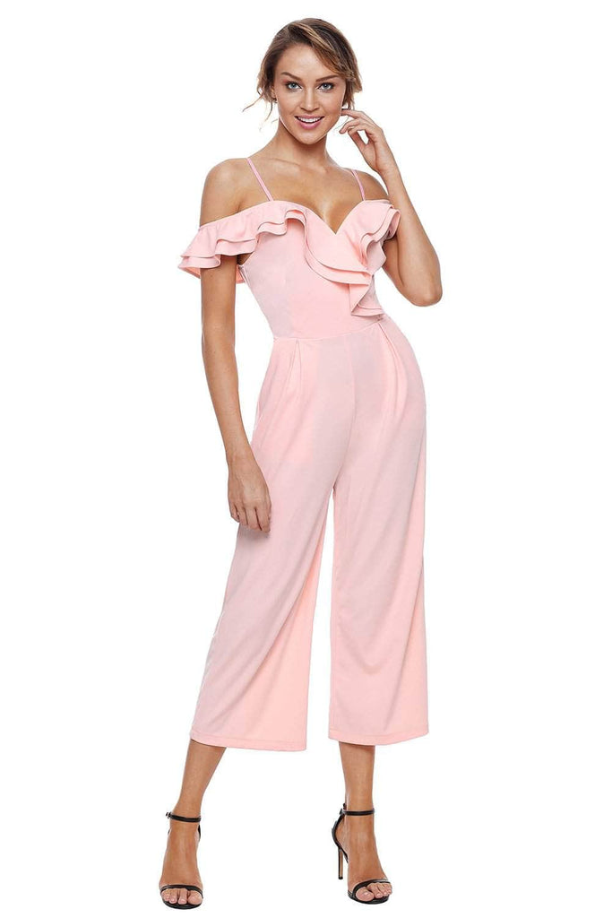 0819f8006f0 Light Pink Ruffle Neckline Jumpsuit with Pockets Size (US 16-18)XL ...