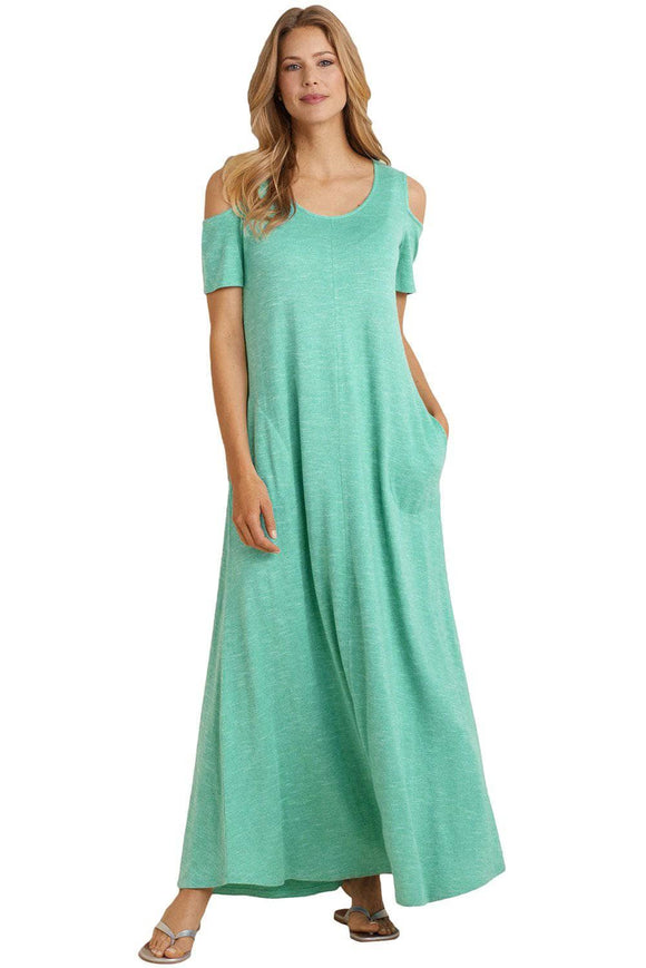 Teal Blue Cold Shoulder Pocket Style Maxi Dress