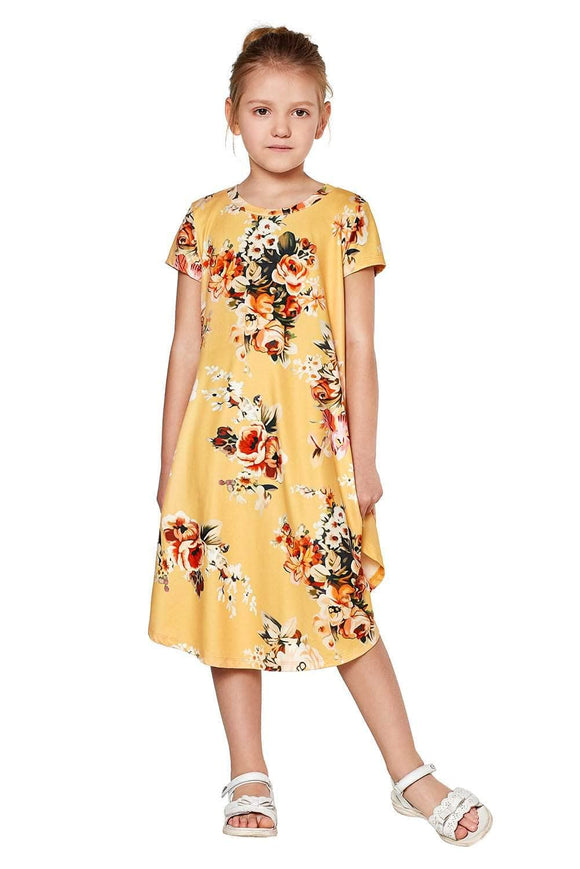 Yellow Short Sleeve Floral Print Toddler Dress