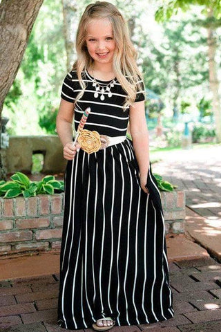 Black Striped Short Sleeve Girl Maxi Dress
