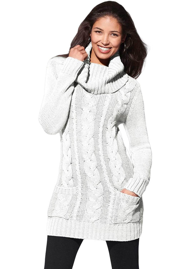 e3845bd8876 White Cowl Neck Cable Knit Sweater Dress