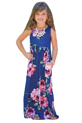 Navy Floral Print Sleeveless Little Girl Maxi Dress