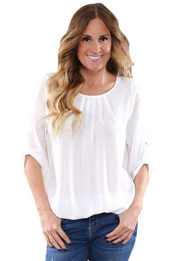 White Ruched Detail Pin up Sleeve Front Blouse