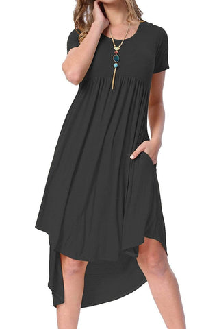 Black Short Sleeve High Low Pleated Casual Swing Dress