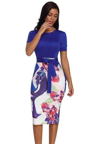 Blue Bowknot Short Sleeve Printed Sheath Dress