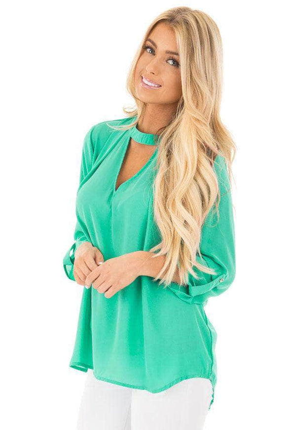 Jade Choker Cut out V Neck Blouse with Keyhole Back