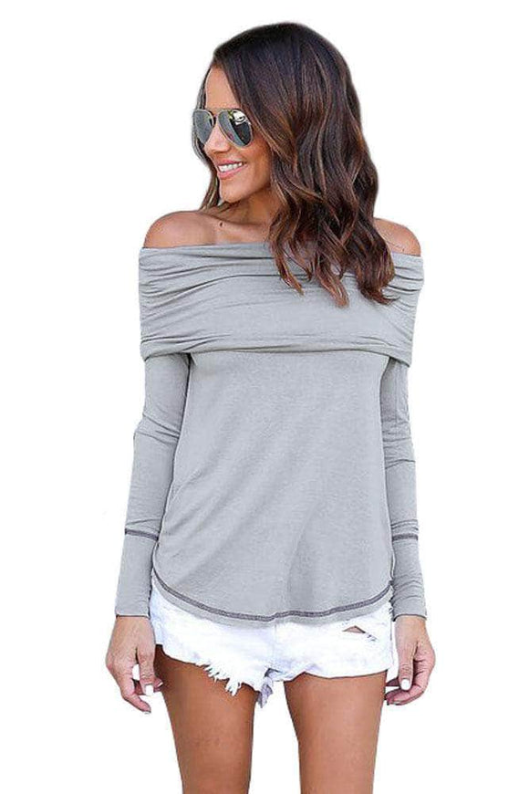Gray Off The Shoulder Long Sleeve Top